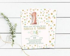 First birthday invitation- one year old birthday invitation-cake invitation-turning one-girls birthday invitation-pink and gold - printable
