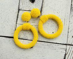 large Hoops yellow bead earrings Boho earrings small hoop clip on earrings in The style Oscar de l How To Make Earrings, Bead Earrings, Clip On Earrings, Beaded Earrings Patterns, Yellow Earrings, Bead Crochet, Minimalist Earrings, Beadwork, Fashion Earrings