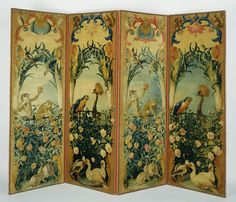Four-Panel Screen ( knotted between 1719 - 1784 ). After designs by Alexandre-François Desportes (French, 1661 - Wool and linen; Folding Screen Room Divider, Room Divider Headboard, Folding Screens, Decorative Screens, Decorative Items, Jean Antoine Watteau, Floor Screen, Medieval Tapestry, French Rococo