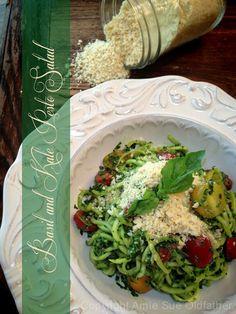 Basil & Kale Pesto Salad with Almond Parmesan from Nouveau Raw