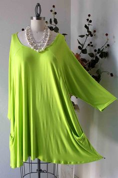 New Versatile Lime Full Figure Plus size Tunic by Dare2bStylish 10aadce7ca180