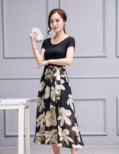 Đầm xòe hoa ly ly thời trang - B2564