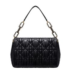 """Size: 13.39 x 9.45 x 4.72 inches - The utterly delicious """"Dior Delices"""" collection is both supple and structured. This black leather flap bag features soft rounded lines and embossed 'Cannage' stitching. - Leather handle and a gold-tone chain braided with a satin ribbon for wearing over the shoulder.  - 3 compartments 1 zipped pocket Press-stud closure"""