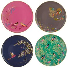 BuySara Miller Chelsea Collection Birds Cake Plates, Dia.20cm, Assorted, Set of 4 Online at johnlewis.com
