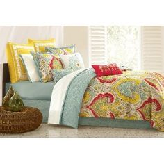 **Echo Jaipur Comforter Set with the  accent pillows too!  Cali King.  2 yellow: http://www.amazon.com/Echo-EO11-048A-Jaipur-Euro-Sham/dp/B002WN1QG0/ref=pd_vtp_hg_3    1white: http://www.amazon.com/Echo-Jaipur-18-Inch-Polyester-Pillow/dp/B002WN1QJ2/ref=pd_vtp_hg_5   1 Green: http://www.amazon.com/Echo-Jaipur-18-Inch-Polyester-Pillow/dp/B002WN1QHO/ref=pd_vtp_hg_8