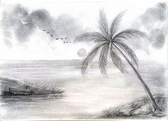 sketch scenery drawn landscape pencil painting pencil and in color drawn free