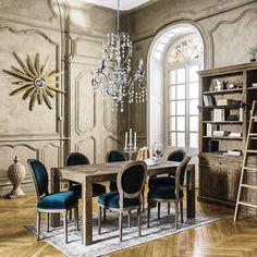 salle à manger - bois - moulures - biblliothèque - classique - Maisons du monde / dining