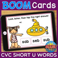 THIS IS AN INTERACTIVE DIGITAL RESOURCE. Download the preview to play a shortened version of the Boom Deck – this will help you decide if the resource is suitable for your students. ABOUT THIS BOOM DECK: Students will look at the picture, listen to the word, then tap on the word with the short U sound, from a choice of three words.