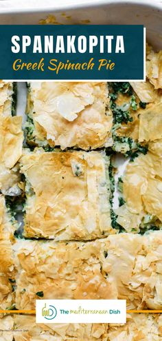 Spanakopita is a delicious savory Greek pie made of perfectly crispy layers of phyllo dough and a comforting filling of spinach and feta cheese. This is so easy to make and perfect for you family to enjoy anytime! Vegetarian Recipes Easy, Clean Eating Recipes, Healthy Recipes, Egg Recipes, Easy Mediterranean Diet Recipes, Mediterranean Dishes, Spanakopita Recipe, Greek Spinach Pie
