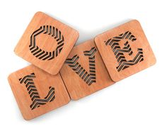Set of 4 wooden coasters (Love theme)