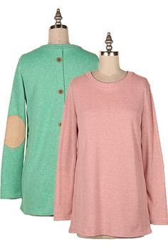 BUTTON DOWN AT BACK KNIT TUNIC W/ ELBOW PATCH.  #1H-10128B