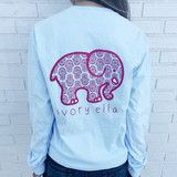 Pocketed Sky Blue Hamsa Print- ivoryella shirt
