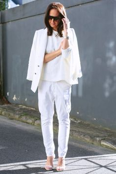 Tash from They All Hate Us blog/ all white outfit