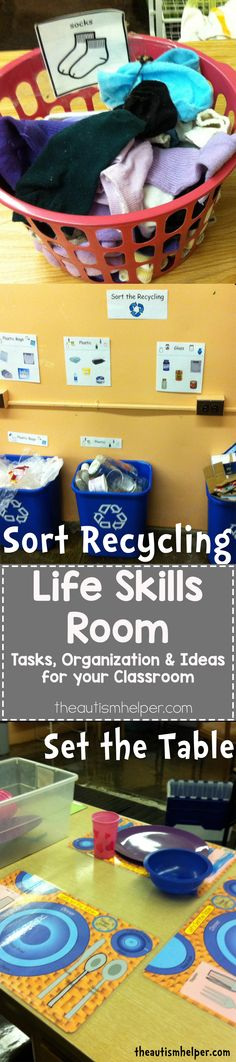 Tips & Tricks for setting up a Life Skills Room to help teach students with Autism important life skills & vocational tasks! From theautismhelper.com