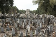 Treblinka. Each stone marker represents a Polish town or city whose population was exterminated at the camp.
