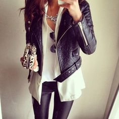 ❊ §assy §iren • skinnies + shirt + hoodie under leather jacket + animal print clutch