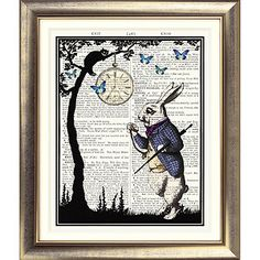 ART PRINT ON ORIGINAL ANTIQUE BOOK PAGE White Rabbit Vintage Alice in Wonderland | eBay