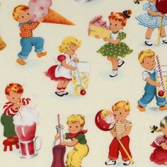cute Michael Miller vintage fabric children playing  designer fabric with many funny children playing and eating from the USA