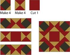 Ornate Star Quilt Block Assembly Diagram - © Janet Wickell