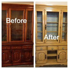 Hutch with a face lift. Annie Sloan chalk paint was used. Arles yellow. Clear wax and then dark wax to finish.