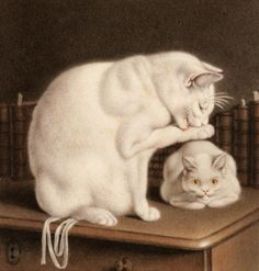 Gottfried Mind, Swiss (1768-1814) ~  Two white cats on a table with books