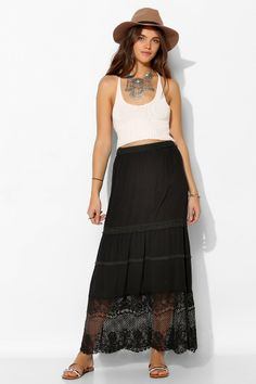 Staring At Stars Crochet Tiered Maxi Skirt #UrbanOutfitters