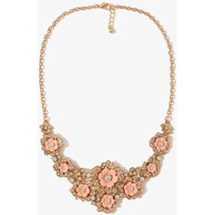 Light coral flowers with pearls and a golden chain