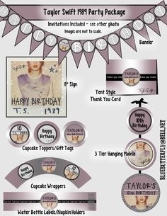 Printable Taylor Swift Birthday Party Invitations tickets Concert