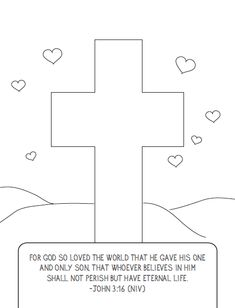Valentine's Coloring Page - Cross