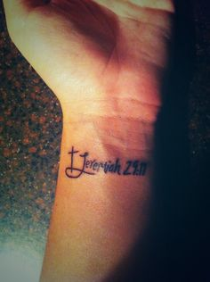 """Jeremiah 29:11.Different font, and two birds flying away, on sitting on the """"J"""" instead"""