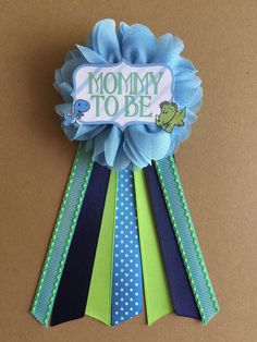 Dinosaurs Baby Boy Shower Mommy-to-be Flower Ribbon Pin Corsage Glitter…