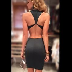 Dark green midi dress, open back, cut out sides Pretty and hot. I love this color. No trades. New and never worn. Dresses Midi