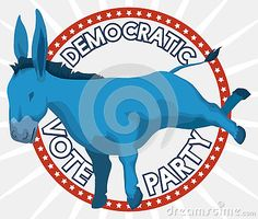Poster with round label and blue donkey to promote the Democrat vote in the next elections in U.S.A.