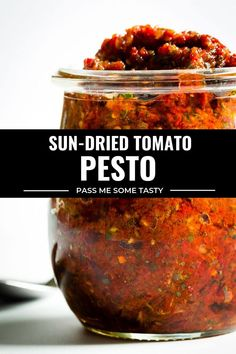 All you need is 7 ingredients and a food processor! It's fast, it's easy, and SO much more tastier than any store-bought sun-dried tomato pesto. Pesto Pasta, Tomato Pesto, Sauce Recipes, Diet Recipes, Appetizer Recipes, Appetizers, Sauces, Pizza, Eggplant Recipes