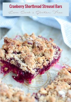 The perfect blend of sweet and tart, these low carb cranberry shortbread streusel bars will be a hit at your next party! keto, atkins, gluten free