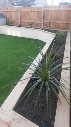 Cream rendered wall. Artificial grass. Modern garden