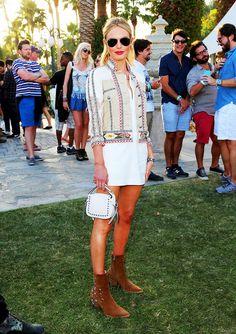 Kate Bosworth Wearing: Etro Crochet-Paneled Embellished Silk-Blend Canvas Jacket ($3050); Kemper NYC The Barbell T-Shirt Dress ($550); Coach Dakota Studded Textured-Leather Shoulder Bag ($350);...