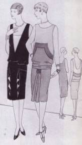 This picture shows the style called La Garconne during 1920s which was also called the flapper. The dress had dropped waistline, sleeveless dresses become popular.