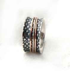 Semiwide sterling silver ring,  oxidized sterling silver, star pattern, three red gold hoops, Fourth of July ring, women's ring, ilanamir