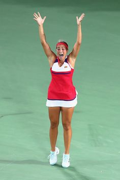 Monica Puig Photos Photos - Monica Puig of Puerto Rico reacts after defeating Angelique Kerber of Germany in the Women's Singles Gold Medal Match on Day 8 of the Rio 2016 Olympic Games at the Olympic Tennis Centre on August 13, 2016 in Rio de Janeiro, Brazil. Puig defeated Kerber 6-4, 4-6, 6-1. - Tennis - Olympics: Day 8