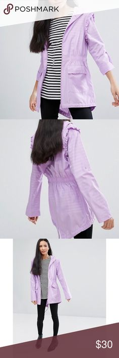 Brave Soul Frilly Trench Brave Soul Frill Festival Trench, in lilac. Girly and practical!  Beautiful jacket. NWT. Jackets & Coats