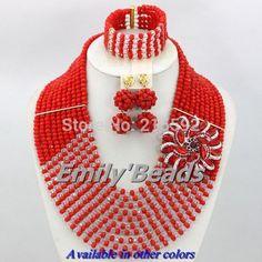 Barato Red casamento nigeriano Beads africanos jóias Set 10 camadas traje africano jóias Set contas de cristal jóias frete grátis AJS913, Compro Qualidade Tintas de impressão diretamente de fornecedores da China: