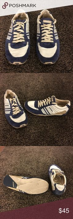 Diesel low top sneaker - size 9 men - navy/white Used but still in great condition. Very comfortable shoe! Diesel Shoes Sneakers