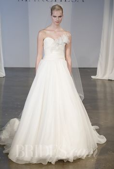 Brides.com: . Style B90807, strapless draped organza ballgown with hand-made flower detail and crystal embellishment, Marchesa