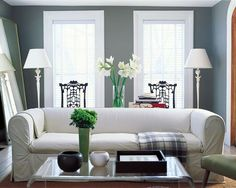 "Benjamin Moore Color...""shaker gray."" A calming gray that will blend with any cool color."