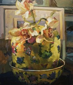 Orchids in the Yellow vase - Oil on canvas Yellow Vase, Oil On Canvas, Orchids, My Arts, Painting, Painting Art, Paintings, Painted Canvas, Drawings