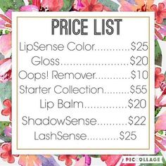 "SeneGence Price List For LipSense and/or SeneGence orders, join my ""JAM Lips and … Lip Gloss, Lip Sence, Shadow Sense, Senegence Makeup, Senegence Products, Long Lasting Lip Color, Love Lips, Kiss Proof, Price List"