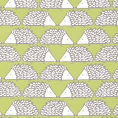 Scion Spike 120384 (Kiwi) fabric from the Levande collection, priced per metre. An enchanting almost geometric depiction of a stylised hedgehog Home Decor Fabric, Home Decor Items, Scion Fabric, Fabric Design, Pattern Design, Painted Rug, Vinyl Fabric, Curtains With Blinds, Stencil