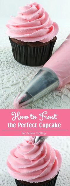 How to Frost the Perfect Cupcake - step by step instructions with a video on how to create a beautiful frosting swirl on a cupcake. We will teach you how to frost beautiful cupcakes. We taught ourselves how to make a icing swirl and you can learn to to make pretty cupcakes too. Pin this Cupcake Frosting Tip for later and follow us for more Cupcake decorating ideas. by alisa