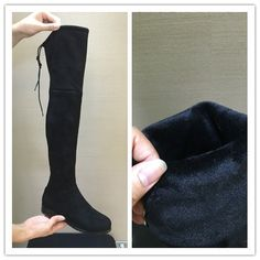 Korean Womens Thigh Flat Elastic Shoes Suede Over Knee High Boots